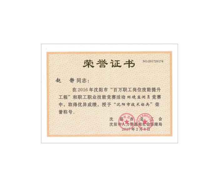 沈阳市技术标兵荣誉证书