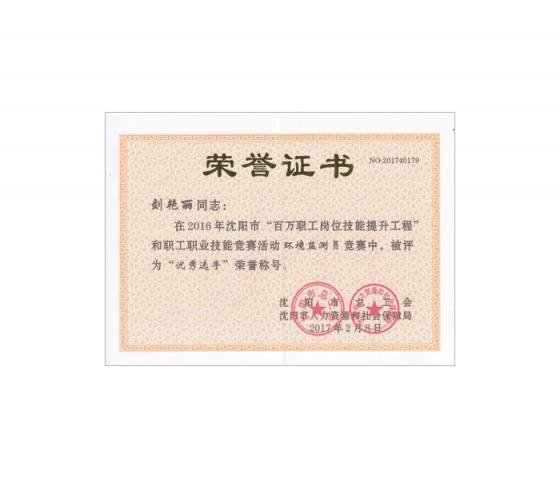刘艳丽获得优秀选手荣誉称号